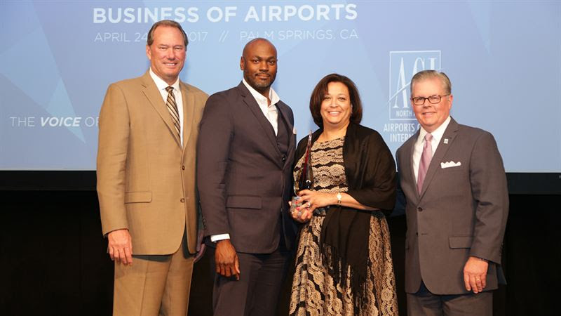 Airport Administration Represent Airport receiving ACI-NA Inclusion Championship Award in April 2017