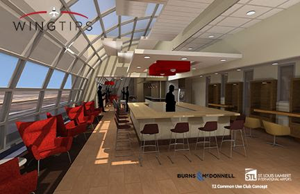 Rendering of proposed Wingtips in Terminal 2 (courtesy of Airport Terminal Services and Burns & McDonnell)