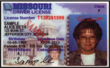 Missouri Driver License example