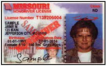 Missouri Non Driver License example