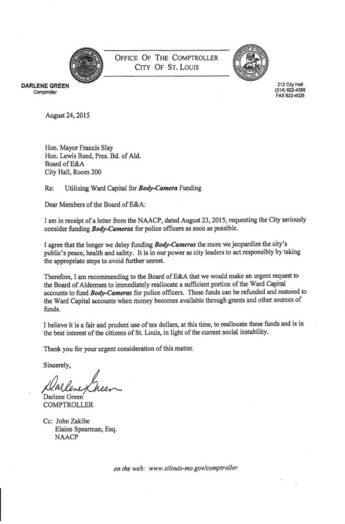 Comptroller letter to Board of E&A