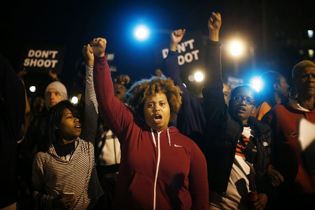 Women protesters in Ferguson, Mo. Photo courtesy of MSNBC.