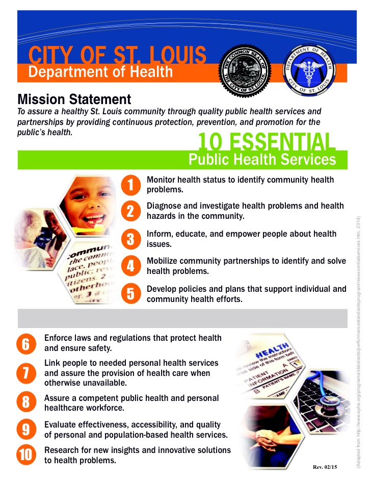 Mission Statement And 10 Essential Public Health Services