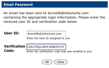 User ID and Verification Code