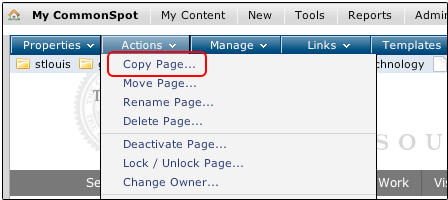 Copy Page Menu Option