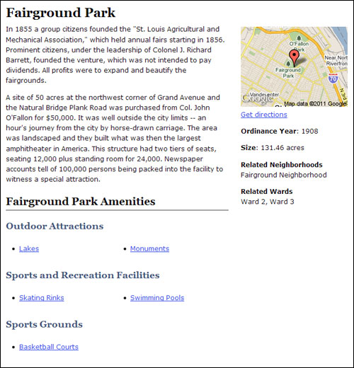 Fairground park example page