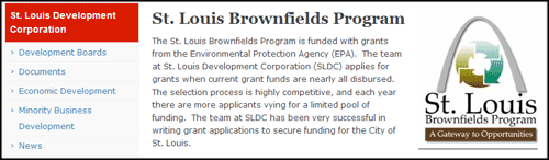 Brownfields logo inside a right column