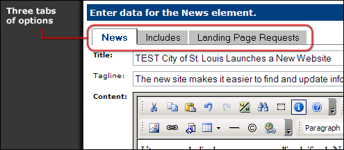 News element tabs