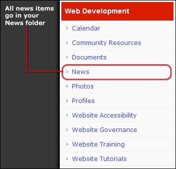 Example of a news folder in the left navigation