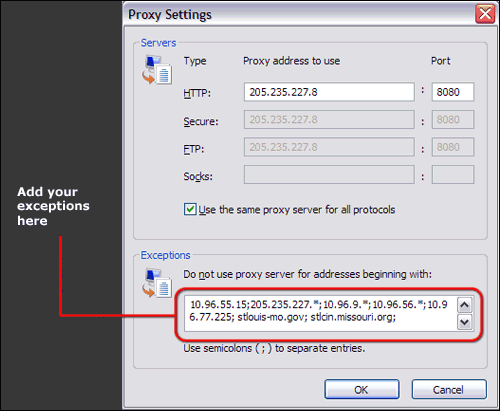 Adding proxy exceptions to Internet Explorer