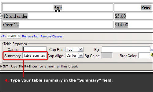 Table's summary field