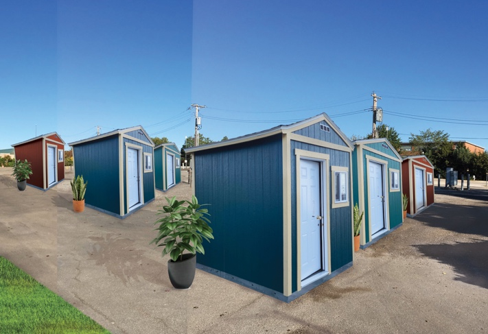 Photo shows rendering of several tiny houses in a row