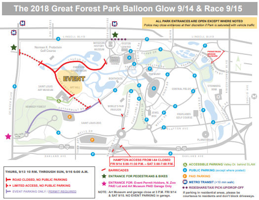 Road Closures map for the 2018 Balloon Glow