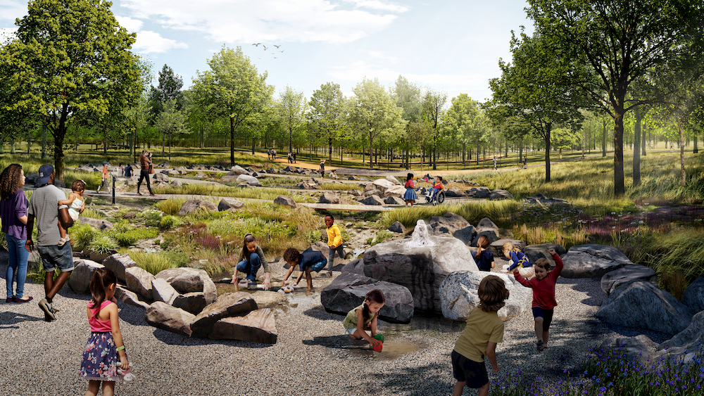 Experiential Nature Playscape Rendering with Children at Play