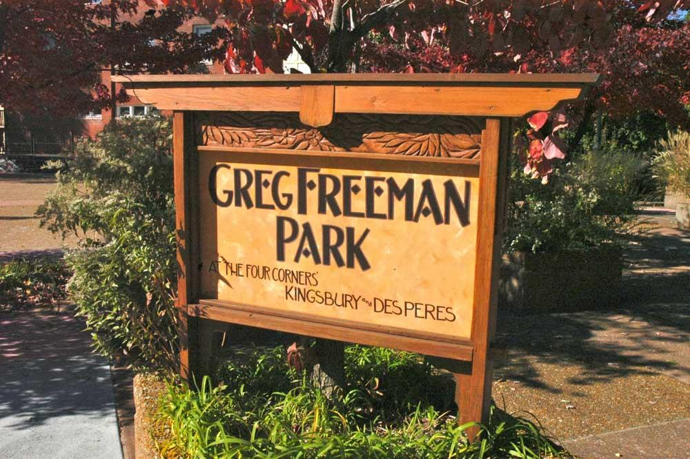Greg Freeman Carved Park sign