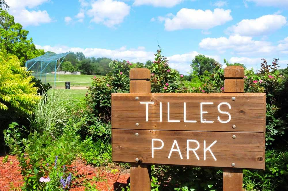 Tilles Park entrance sign
