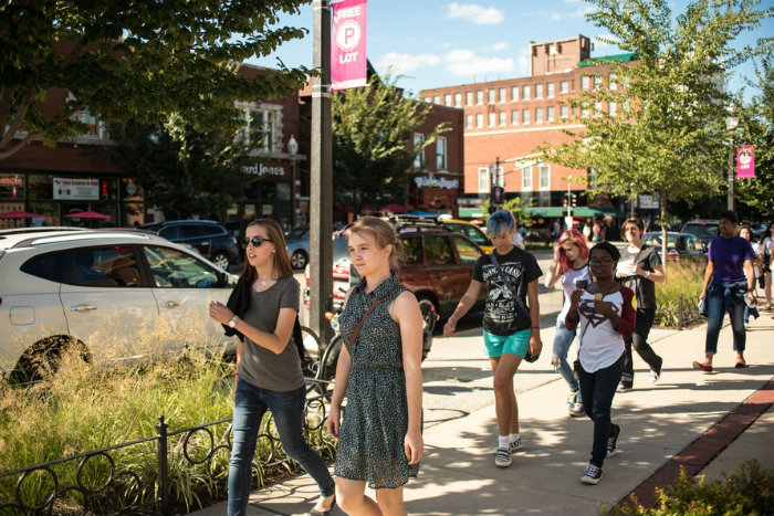 Pedestrians on South Grand