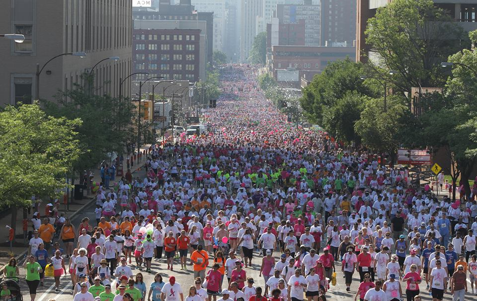 Scene from the 2015 Komen St. Louis Race for the Cure on June 13, 2015 in Downtown St. Louis.