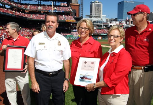 Announcement of the new fireboat the Stan Musial at Busch Stadium on Sept. 29, 2013.