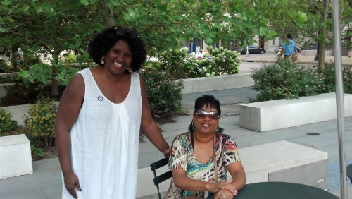 Earline Bell and guest at the Downtown National Night Out celebration on Aug. 7, 2012