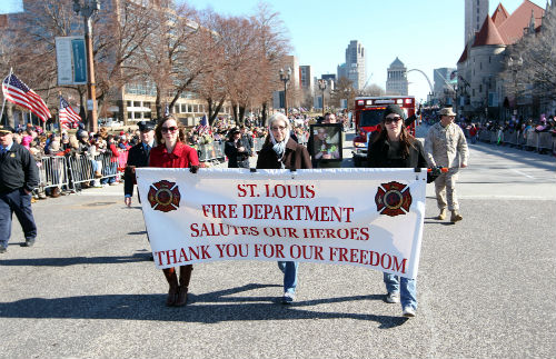 Fire Dept in Welcome Home Heroes parade Jan. 28, 2012.