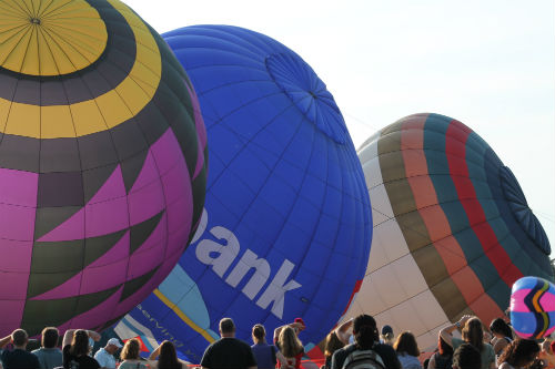 Balloons being inflated for the 2014 Great Forest Park Balloon Race