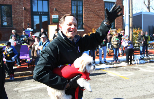 Mayor Francis G. Slay and his pet walk in the 20th annual Beggin' Pet Parade on Sunday, Feb. 3, 2013.