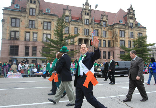 Mayor Francis G. Slay walks in 2013 St. Patrick's Day Parade in Downtown St. Louis on March 16, 2013.
