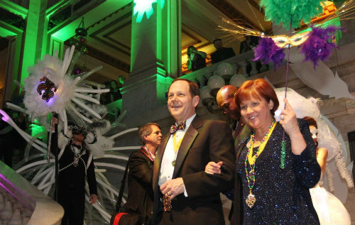 Mayor and Mrs. Slay are introduced at the 2014 Mardi Gras Ball held at City Hall on Friday, Feb. 28.  (Photo by Bill Greenblatt)
