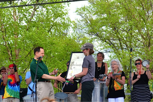 Mayor Francis Slay presents a proclamation in honor of the 25th anniversary of the St. Louis Earth Day Festival