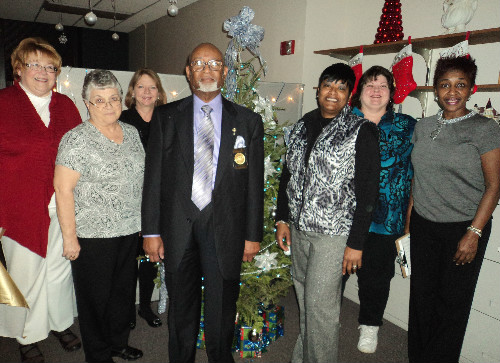 Red, White and Blue Tree.  Winner of the 2011 Collector of Revenue Office Annual Christmas Tree Decorating Contest.  Pictured are the Judges in the contest:  Jan Williams, Freddie Dunlap and Sherry Wibbenmeyer and tree decorators: Sherri Jones-Curry, Keena Carter, Carol Baker, Paula Venable and Sharon Sutterer.