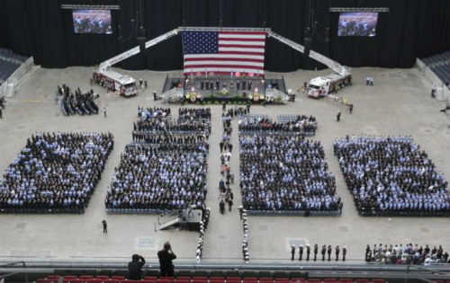 Overview of the Memorial Service in Houston, TX on Wednesday, June 5, 2013 for fallen firefighters killed in a massive hotel blaze.