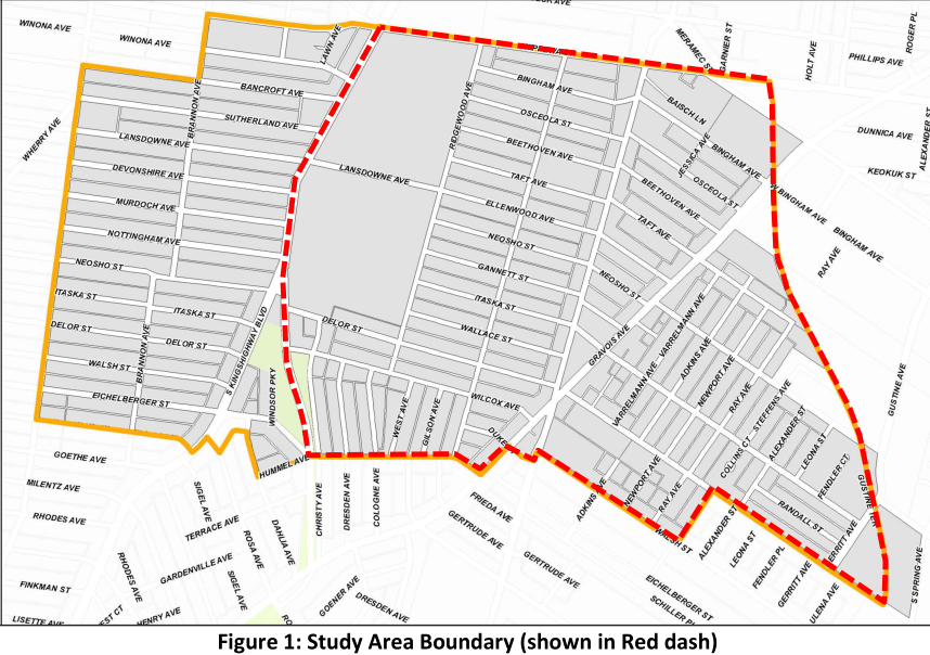 Ward 14 traffic study area boundary map, Ward 14 portion East of Kingshighway