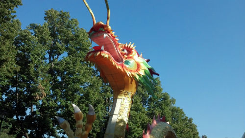 A dragon greets visitors to the Missouri Botanical Garden
