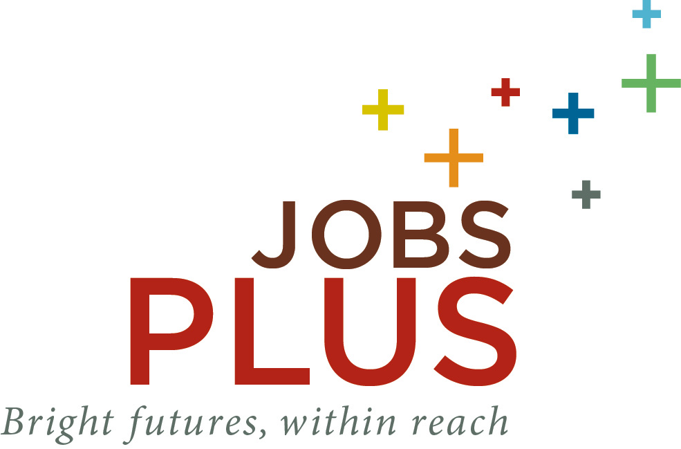 Jobs Plus logo in red