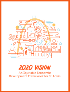 Graphic has an orange border and includes the title 2020 Vision: An Equitable Economic Development Framework for St. Louis.