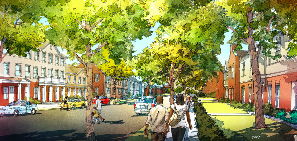 Rendering of a Neighborhood Street at Preservation Square.