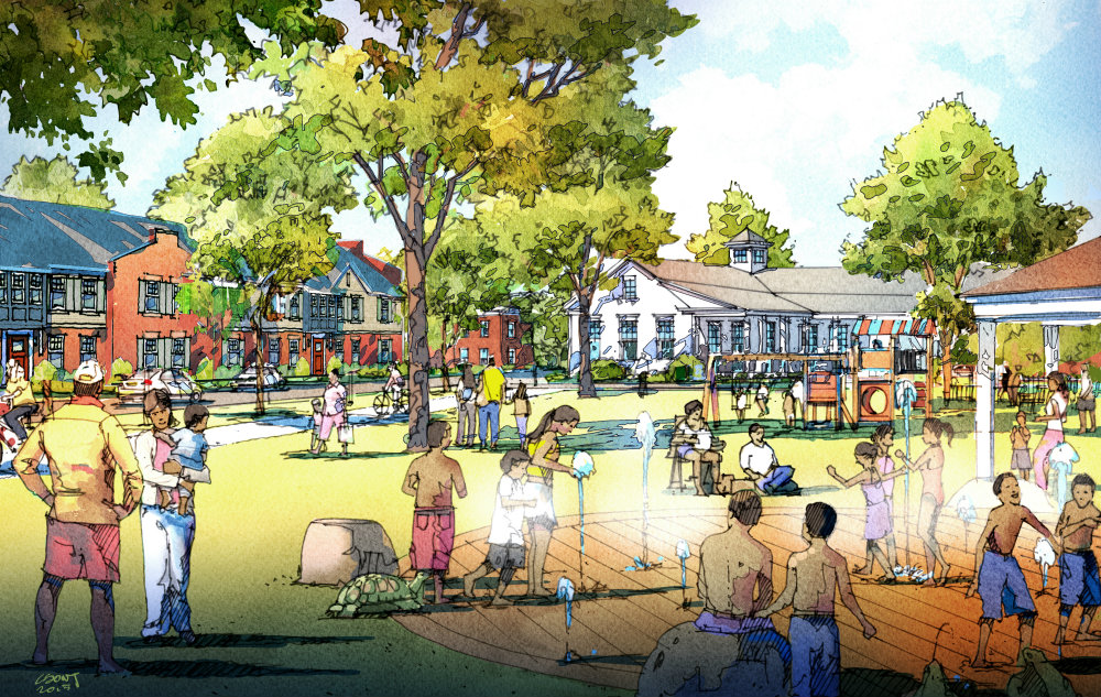 Rendering of the proposed Splash Park at Preservation Square.