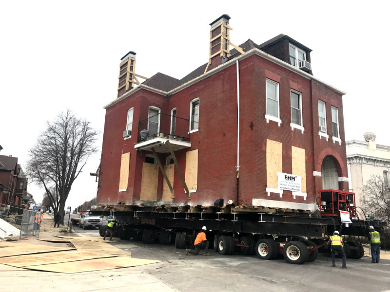 Historic brick home moved in Near North Neighborhood in preparation for the NGA West Campus