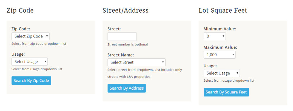LRA Search Tool for Zip Street and Lot size