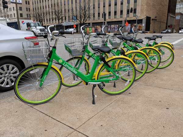 Lime Bikes by the Street