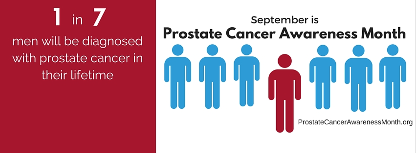 Graphic showing 1 in 7 men will be diagnosed with prostate cancer in their lifetime
