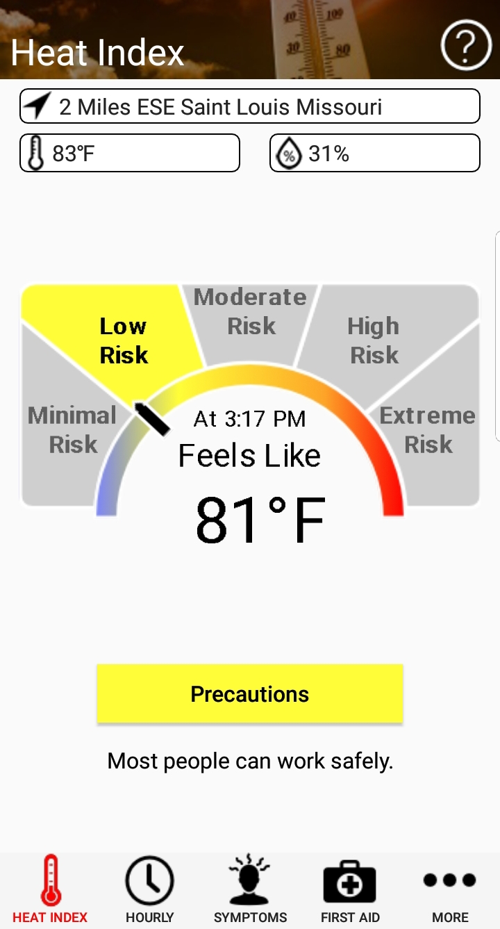 display from heat index app