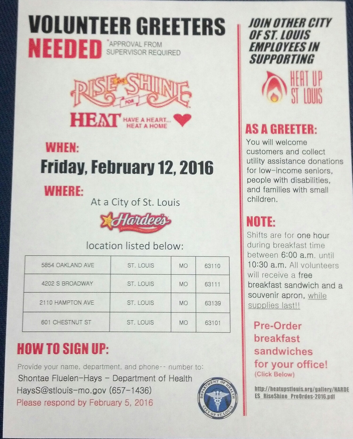 Heat Up St. Louis flyer for 021216