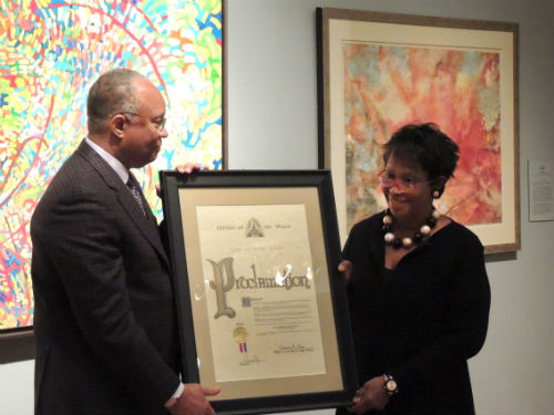 Larry and Brenda Thompson receive a Mayoral proclamation in recognition of their outstanding support of the arts.