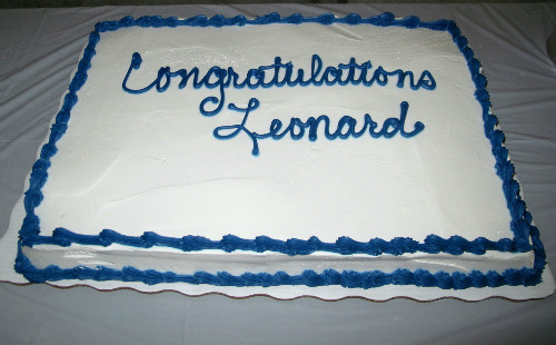 Leonard Harrison's retirement cake