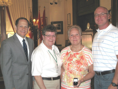 Mayor Slay, Sandy Mantia, Sue Mantia and Gus Mantia July 19, 2013.
