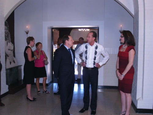 Mayor Francis G. Slay speaks with Cfx ad agency owners Chris and Megan Frank before the Spirit Award presentation on Aug. 25, 2011.