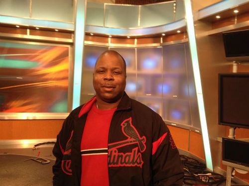 Andre Holman on the old news set at KTVI FOX 2