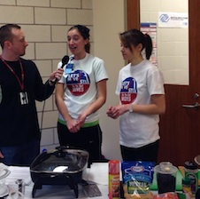 Dietetic interns Victoria Glatz and Gabby Purchno field questions about pre- and post-workout nutrition at the O'Fallon Park Rec Plex.